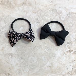 Floral and Black Bow Hair-Ties Brandy Melville